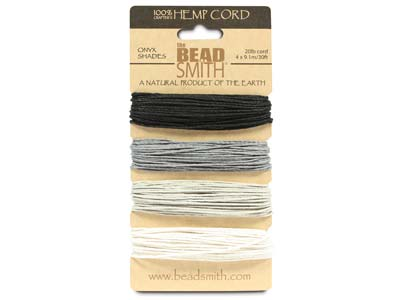 Beadsmith Natural Elements, Hemp   Cord, 4 Colour, Onyx, 1.0mm