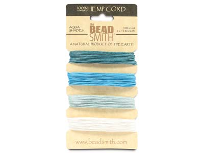 Beadsmith Natural Elements, Hemp   Cord, 4 Colour, Aqua, 0.55mm