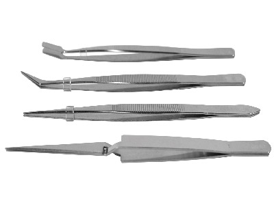 Tweezer Set- 4 Piece, Stainless Steel