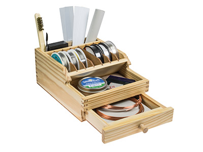 Wooden Benchtop Organiser With     Drawer