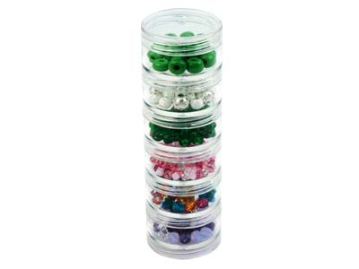 Beadalon Small Bead Storage Stackable Containers, Six Per Stack