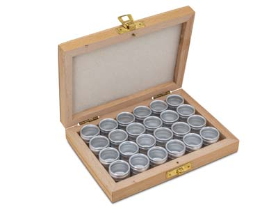 Storage Set 24 Aluminium          Containers In A Wooden Box