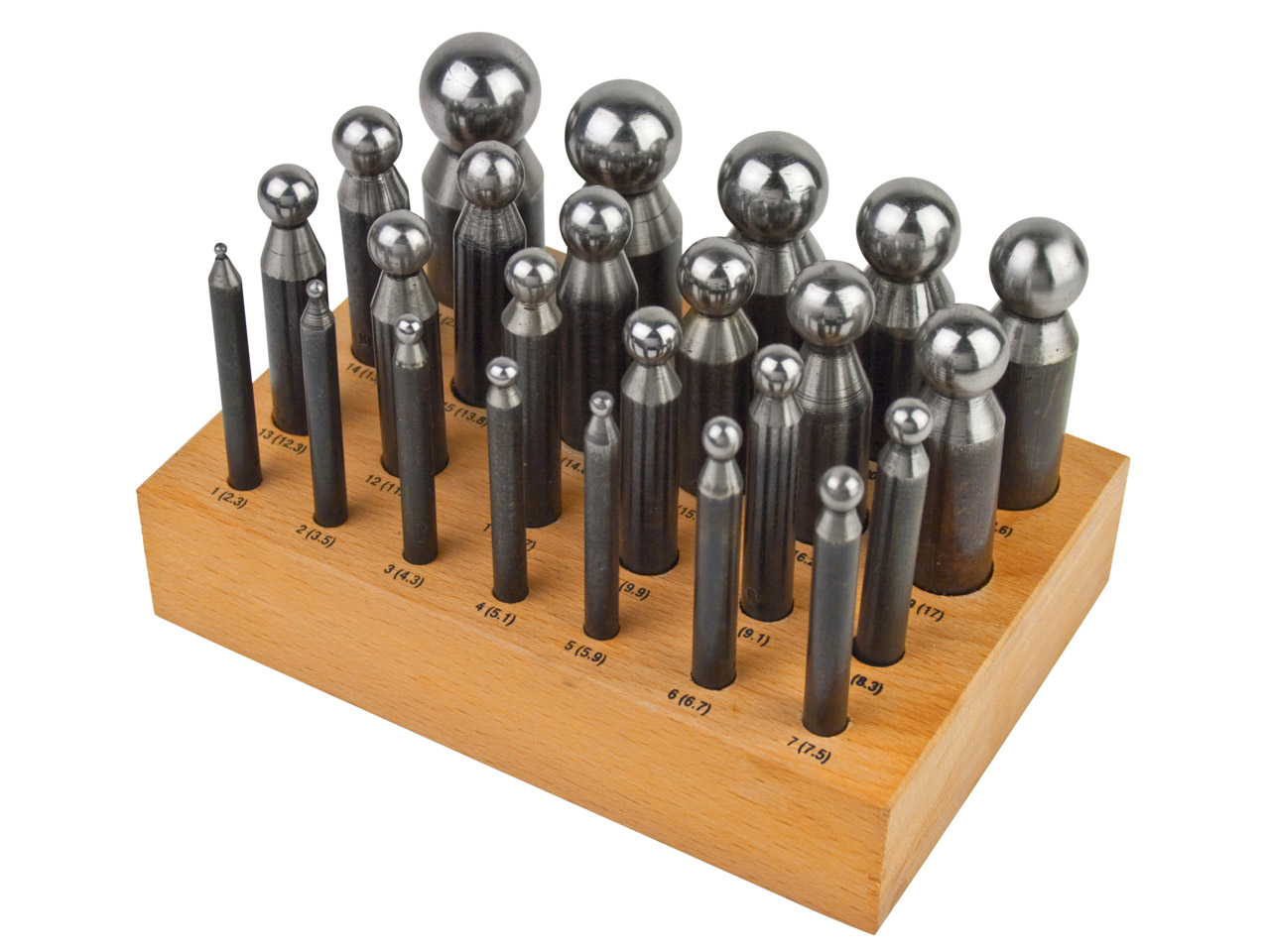 Set Of 24 Steel Doming Punches,    Value Range
