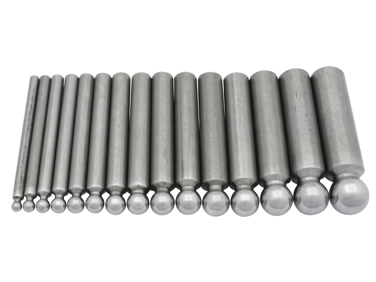 Set Of 15 Steel Doming Punches,    Hole Width 5.0 To 19.0mm