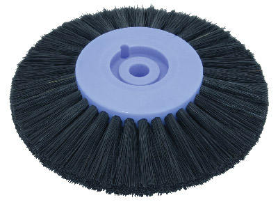 Plastic Centre Lathe Brush 3     Stiff Black Bristle