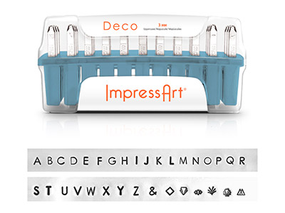 Impressart Deco Uppercase Letter   Stamp Set 3mm