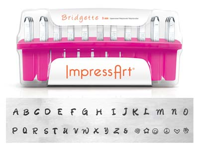 Impressart Bridgette Uppercase     Letter Stamp Set 3mm
