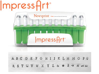 Impressart Newsprint Uppercase     Letter Stamp Set 3mm