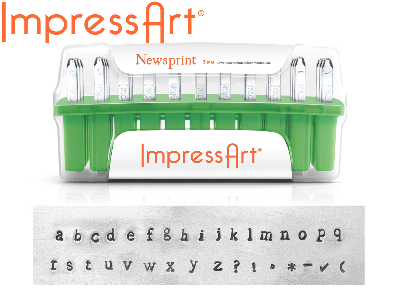 Impressart Newsprint Lowercase     Letter Stamp Set 3mm