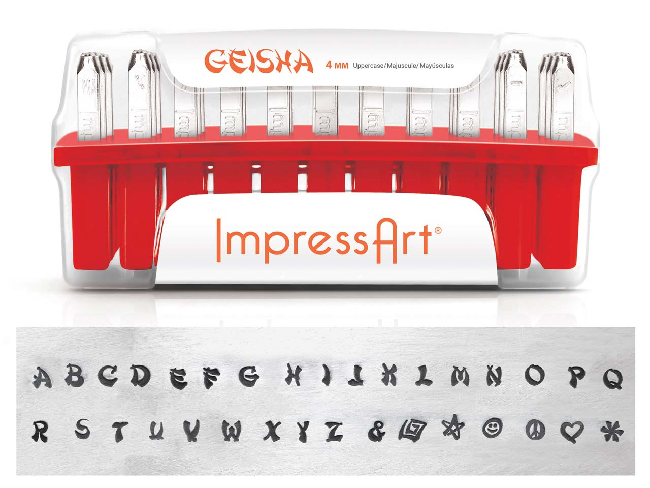 Impressart Geisha Uppercase Letter Design Stamp Set 4mm