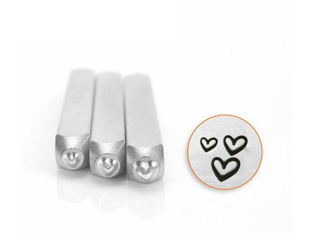 Impressart Love Hearts Stamp Set   Pack of 3 1.5mm, 2mm, 3mm