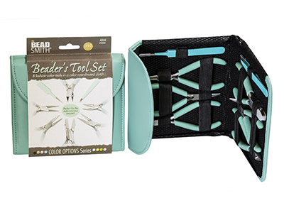 Beadsmith Beaders Tool Kit In Aqua Fashion Clutch Bag