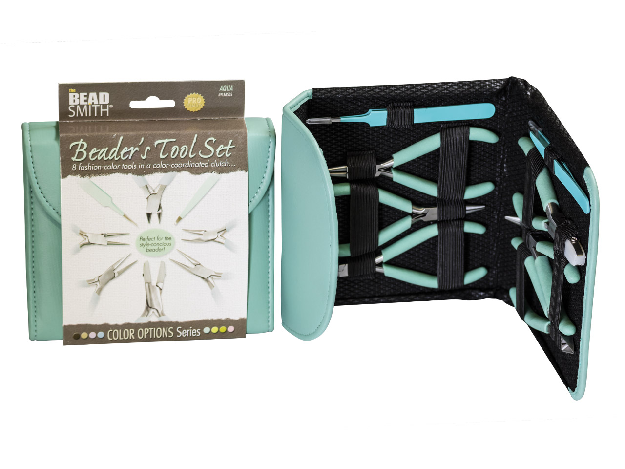 Beadsmith Beader's Tool Kit In Aqua Fashion Clutch Bag