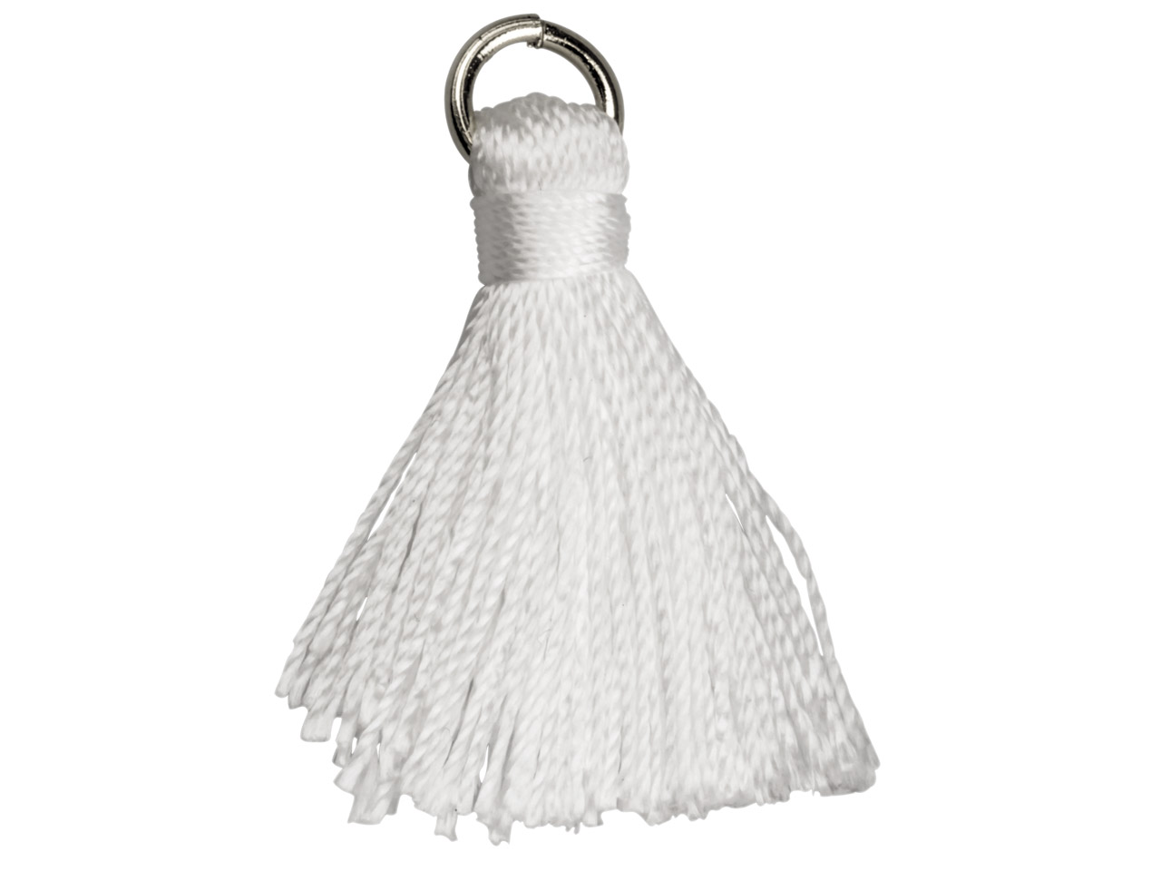 White Nylon Tassel With Silver     Plated Jump Ring Pack of 5