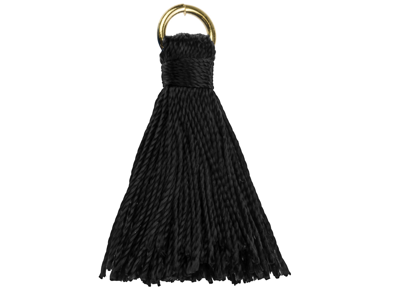 Black Nylon Tassel With Gold Plated Jump Ring Pack of 5