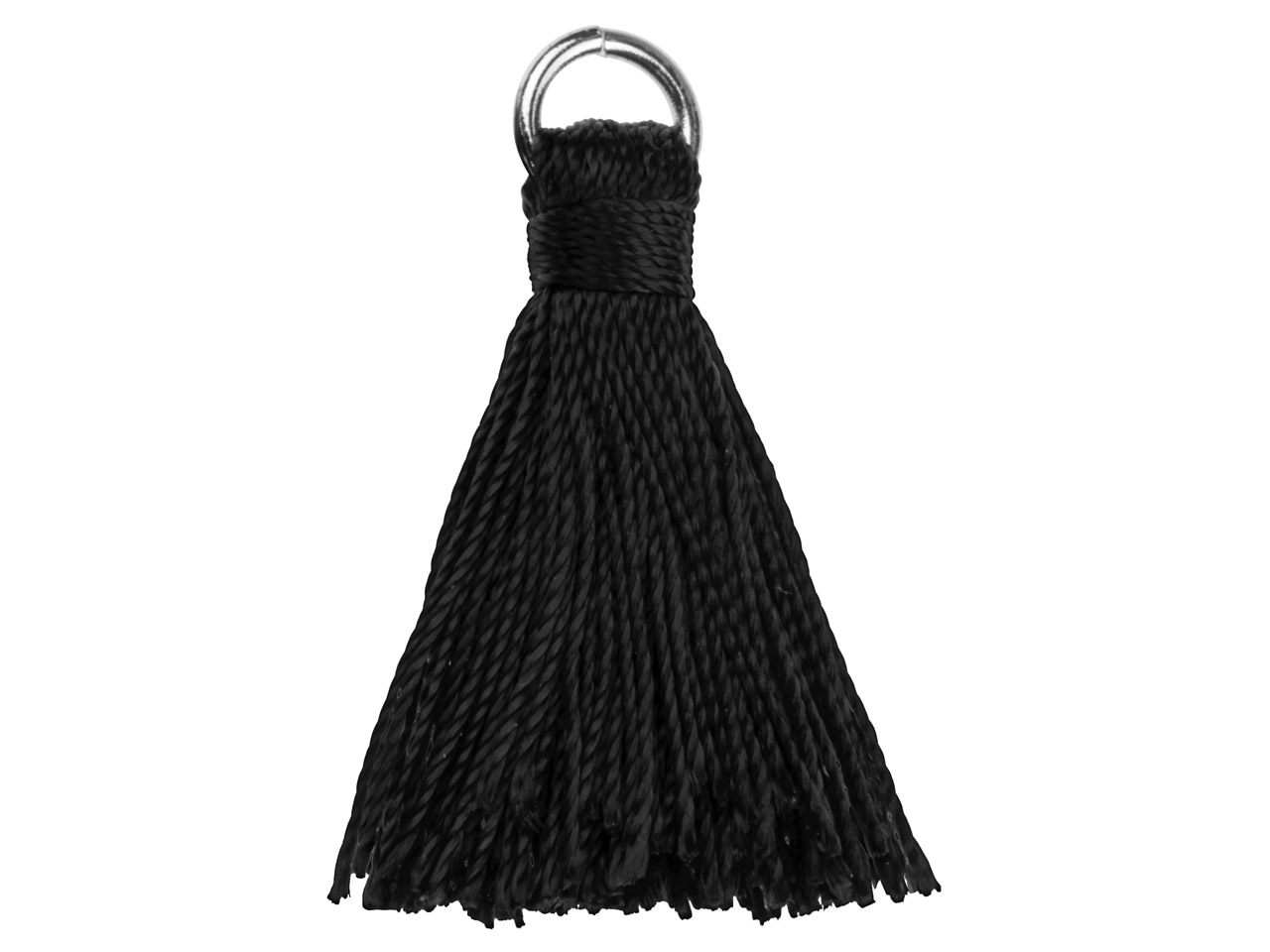 Black Nylon Tassel With Silver     Plated Jump Ring Pack of 5