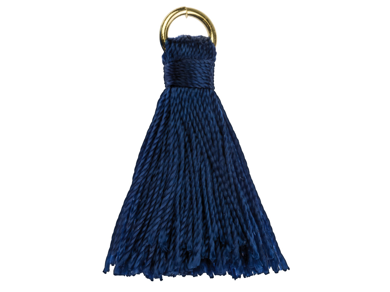 Blue Nylon Tassel With Gold Plated Jump Ring Pack of 5