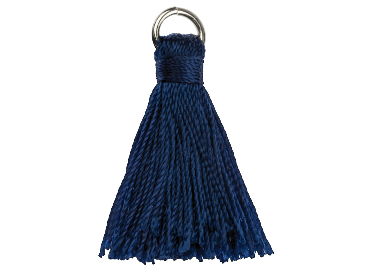 Blue Nylon Tassel With Silver      Plated Jump Ring Pack of 5