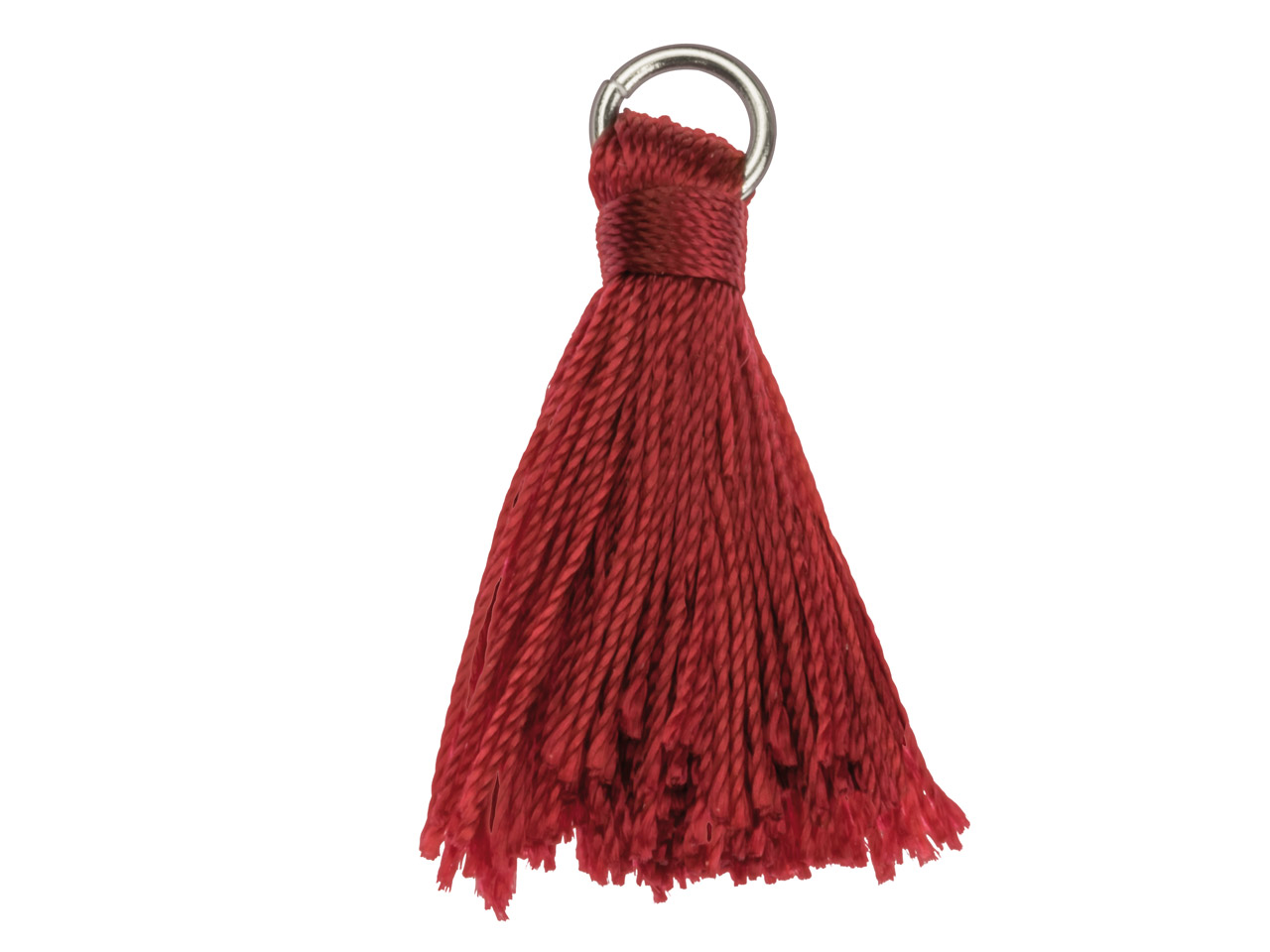 Red Nylon Tassel With Silver Plated Jump Ring Pack of 5