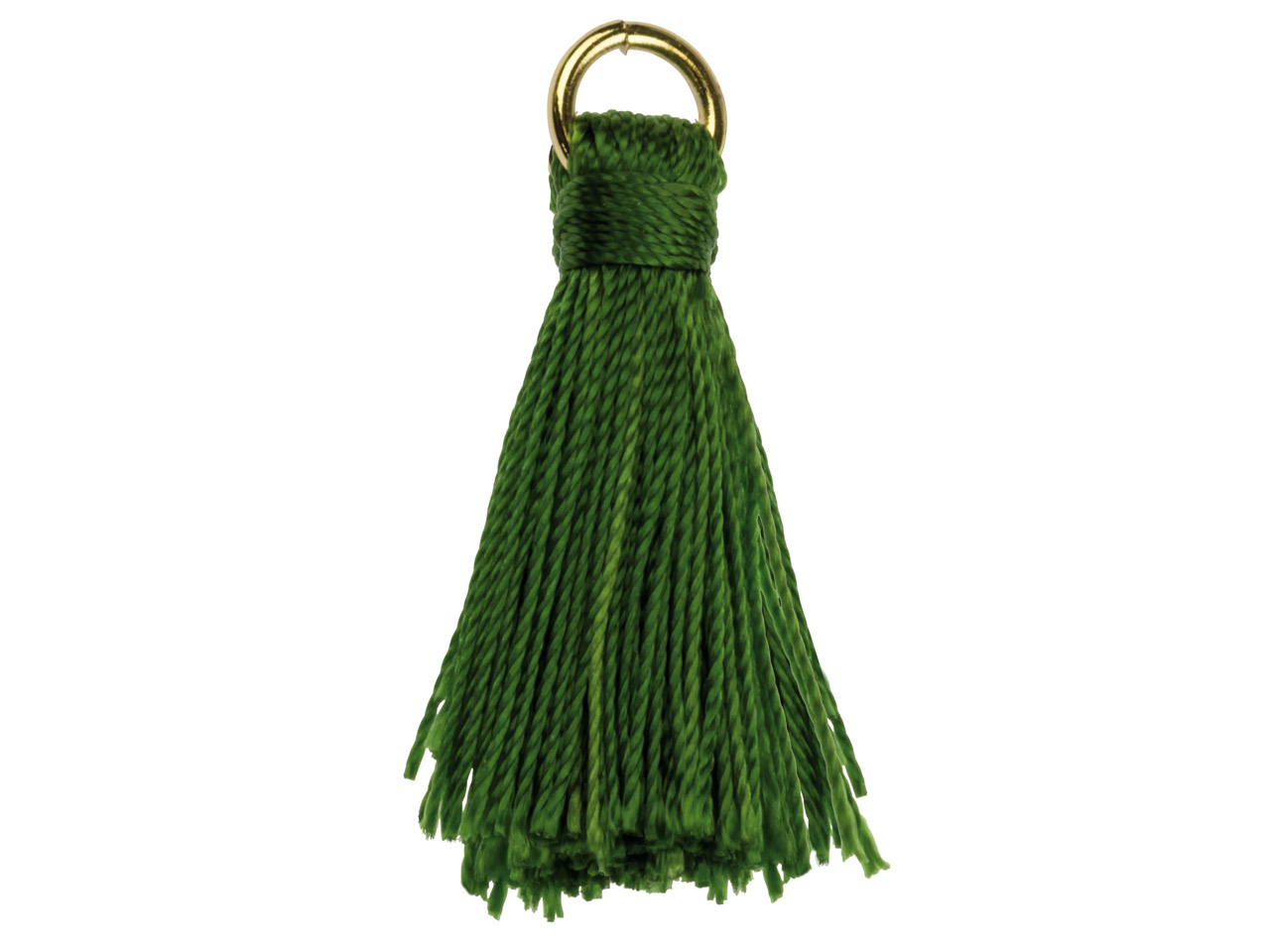 Green Nylon Tassel With Gold Plated Jump Ring Pack of 5