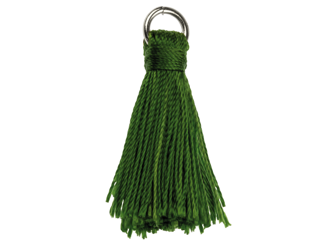 Green Nylon Tassel With Silver     Plated Jump Ring Pack of 5