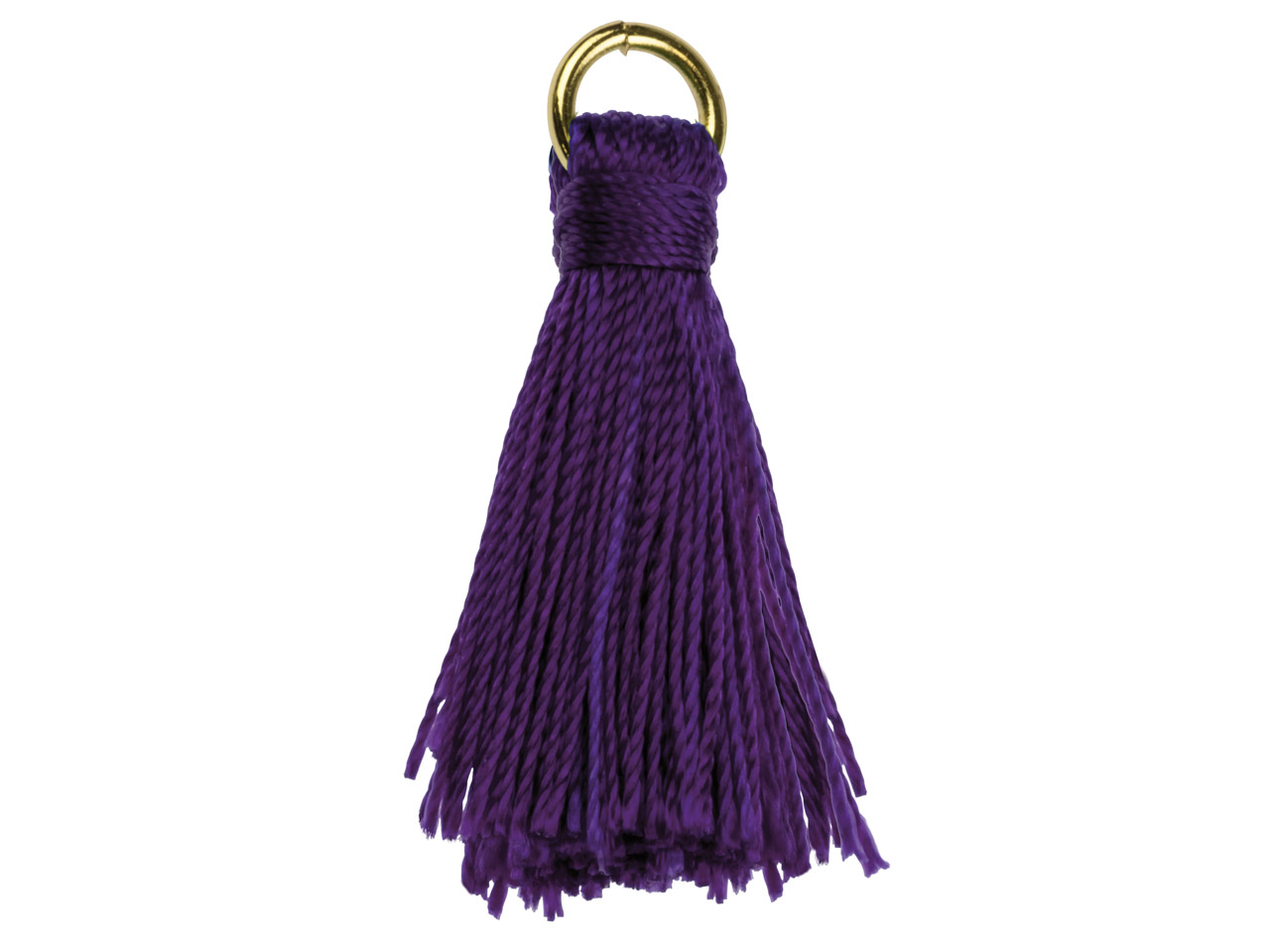 Purple Nylon Tassel With Gold      Plated Jump Ring Pack of 5