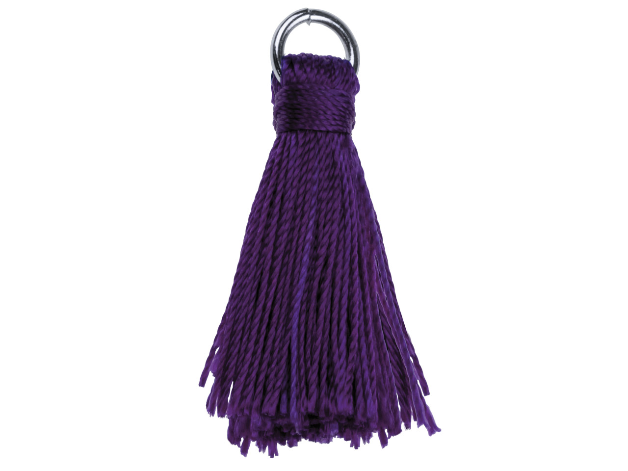 Purple Nylon Tassel With Silver    Plated Jump Ring Pack of 5