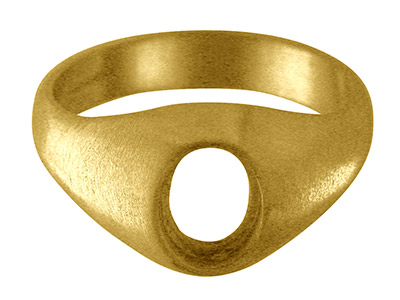 9ct Yellow Gold C9 Rubover Ring    Single Stone Oval Hallmarked Stone Size 10x8mm Size S Open Back And   Hollowed Shoulder