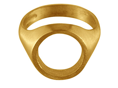 9ct Yellow Gold C33 Rubover Ring   Single Stone Oval Hallmarked Stone Size 14x12mm Size R Open Back And  Hollowed Shoulders