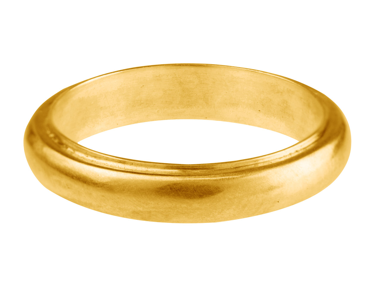 9ct Yellow Band Ring 4.2mm Wide    Hallmarked Size N