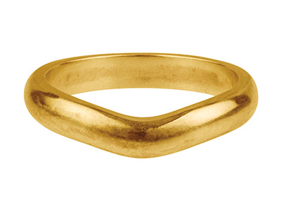 9ct Yellow Gold Curved Ring 3.5mm  Wide Hallmarked Size O