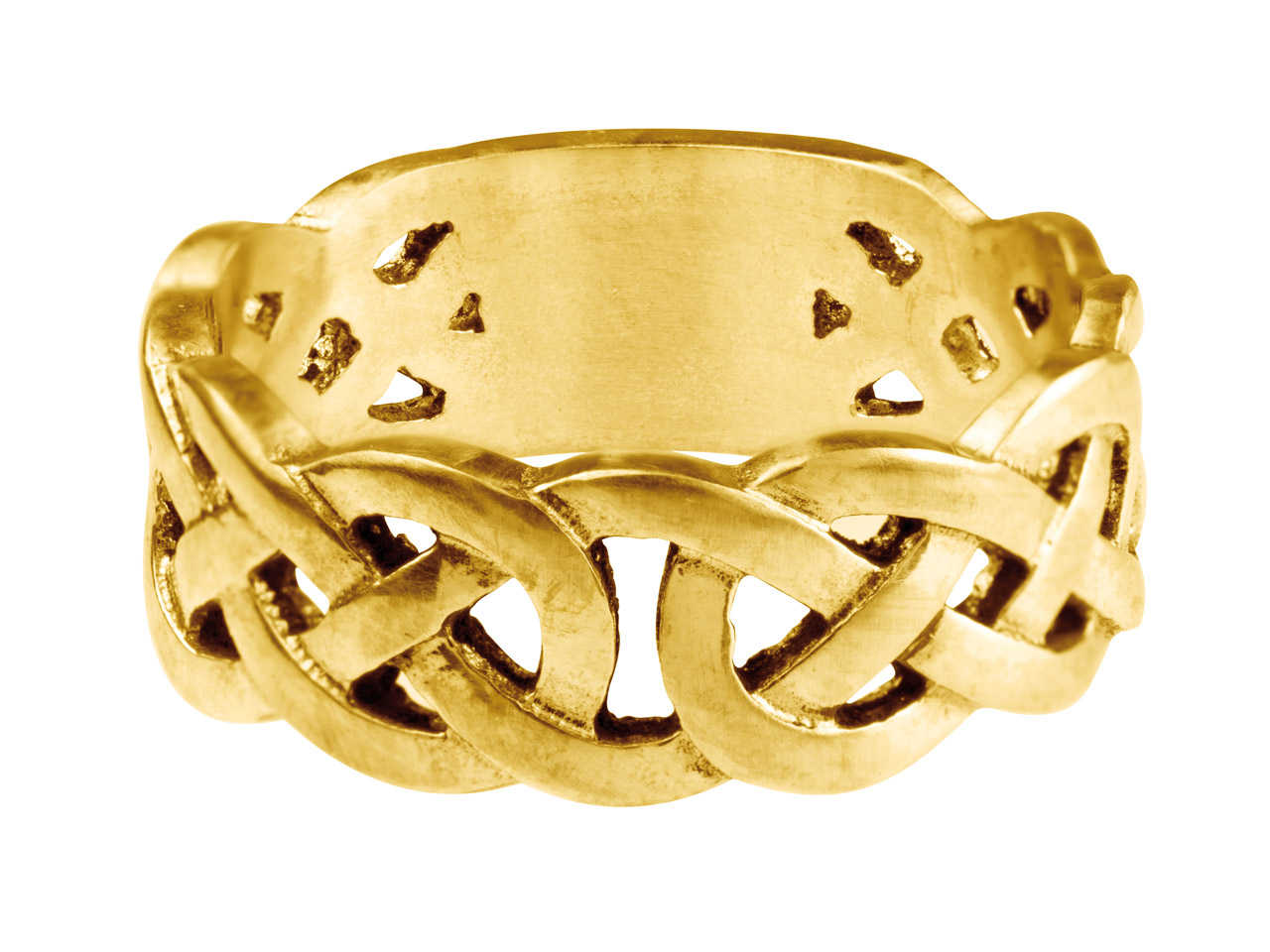 9ct Yellow Gold Celtic Band Ring   8mm Wide Hallmarked Size R