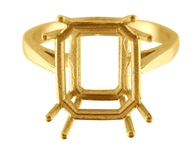 9ct Yellow Gold N7 Dress Ring      Octagonal Centre Hallmarked Stone  Size 12x10mm Size O