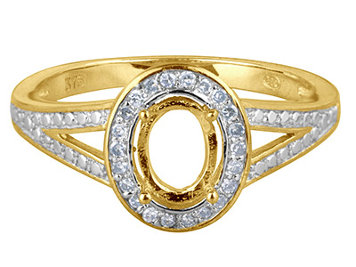 9ct Yellow Gold Semi Set           Diamond Ring Mount Hallmarked 22   Round Total 0.10ct Centre To       Accommodate 7x5mm Oval