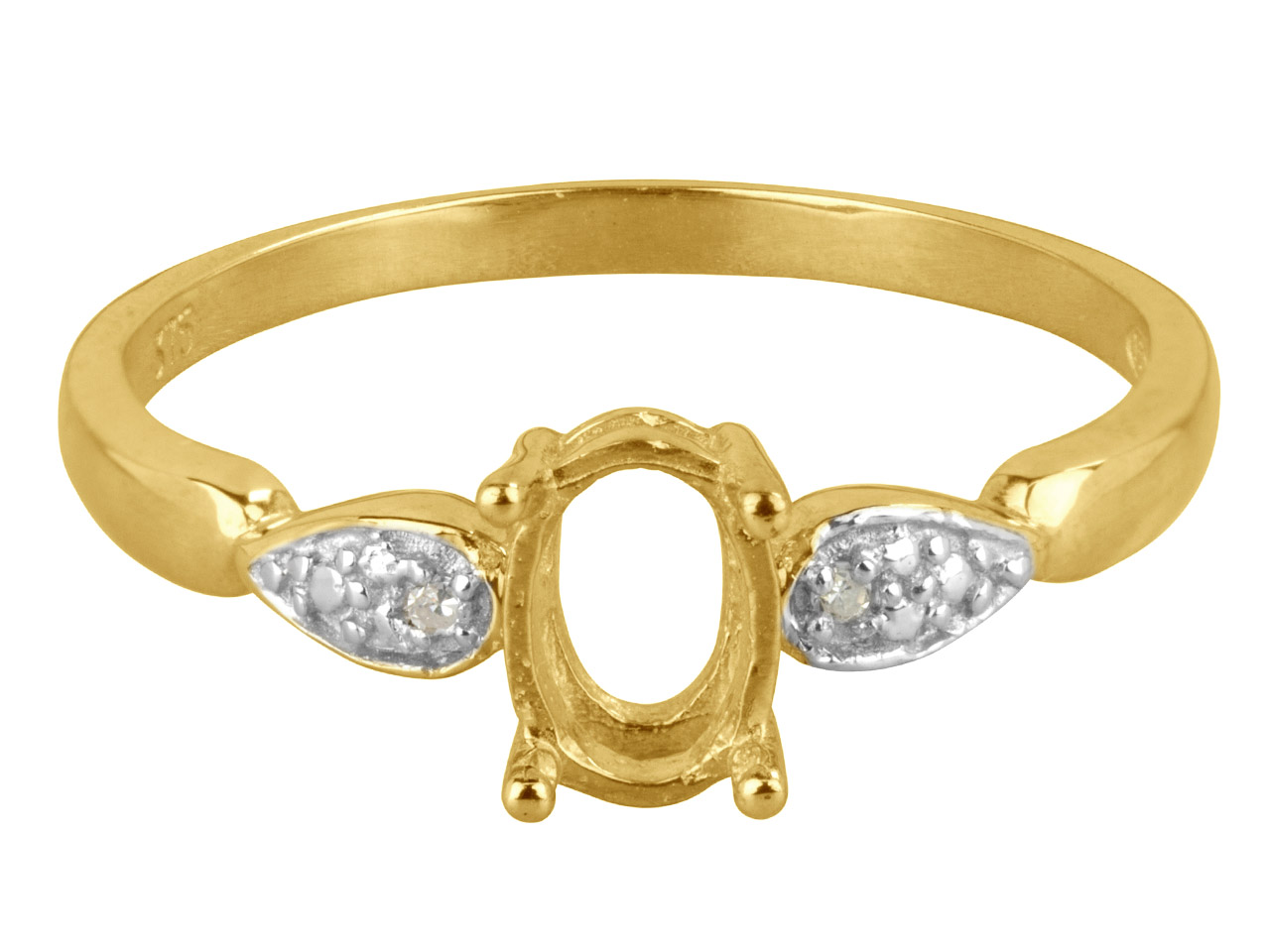 9ct Yellow Gold Semi Set           Diamond Ring Mount Hallmarked 2    Round Total 0.01ct Centre To       Accommodate 7x5mm Oval