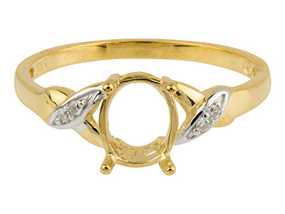 9ct Yellow Gold Semi Set           Diamond Ring Mount Hallmarked 4    Round Total 0.02ct Centre To       Accommodate 6x8mm Oval