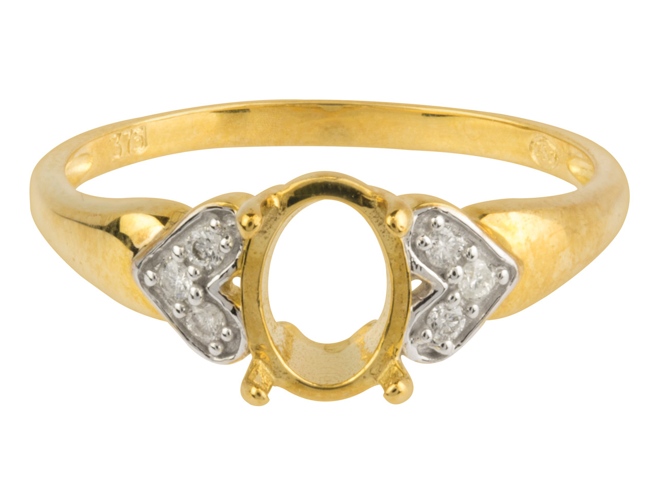 9ct Yellow Semi Set Diamond Ring   Mount Hallmarked 6 Round Total     0.07ct Centre To Accommodate 6x8mm Oval