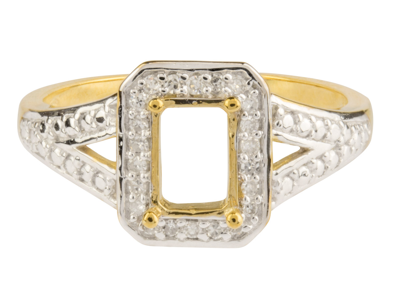 9ct Yellow Semi Set Diamond Ring   Mount Hallmarked 22 Round Total    0.10ct Centre To Accommodate 7x5mm Octagonal