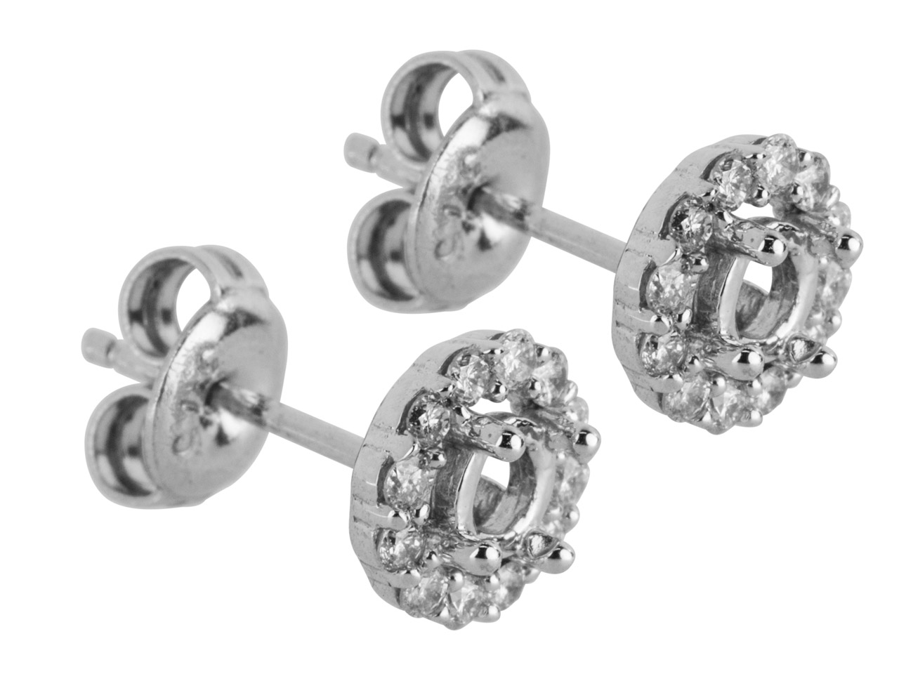9ct White Semi Set Earring Mount   Hallmarked 24 Round Total 0.24ct   Centre To Accommodate 3.0mm        Pack of 2