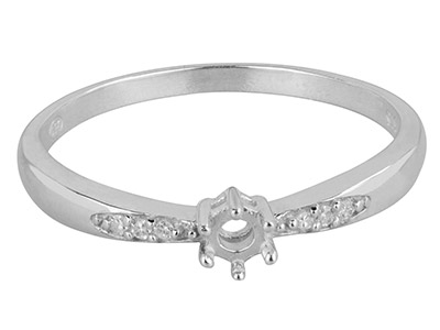 9ct White Gold Semi Set            Diamond Ring Mount Hallmarked 6    Round Total 0.03ct Centre To       Accommodate 2.5mm