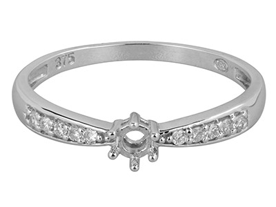 9ct White Gold Semi Set            Diamond Ring Mount Hallmarked 10   Round Total 0.10ct. Centre To      Accommodate 3.5mm