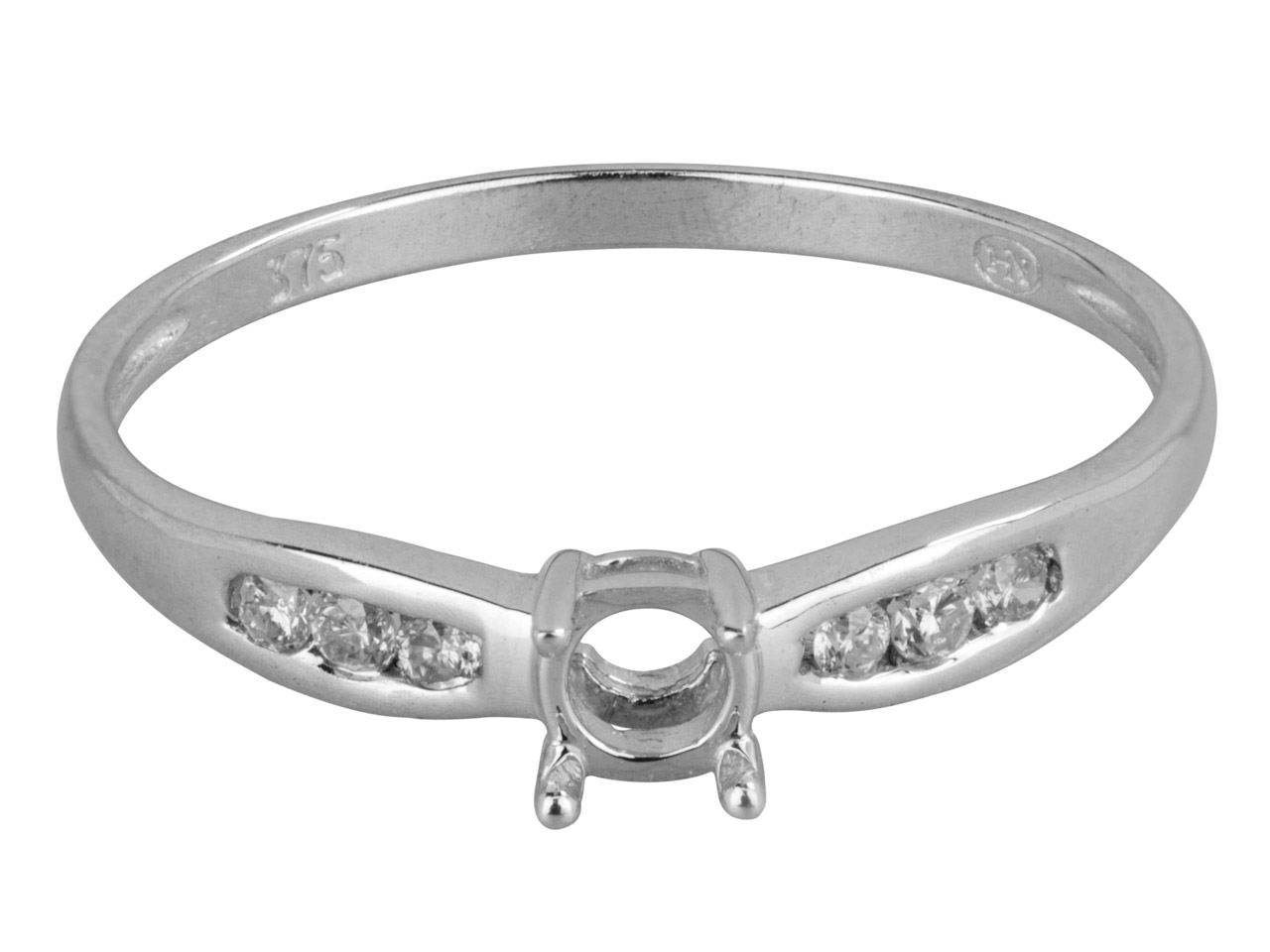9ct White Semi Set Diamond Ring    Mount Hallmarked 6 Round Total     0.10ct Centre To Accommodate 4.0mm