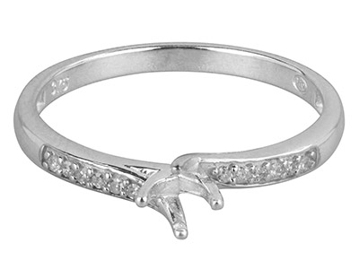 9ct White Gold Semi Set            Diamond Ring Mount Hallmarked 12   Round Total 0.06ct Centre To       Accommodate 4.0mm