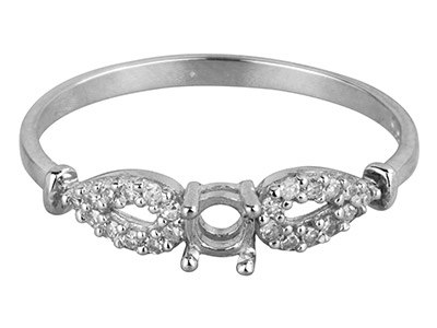 9ct White Gold Semi Set            Diamond Ring Mount Hallmarked 22   Round Total 0.10ct Centre To       Accommodate 3.0mm