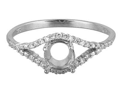 9ct White Gold Semi Set            Diamond Ring Mount Hallmarked 22   Round Total 0.10ct Centre To       Accommodate 6.0mm