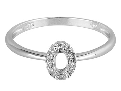 9ct White Gold Semi Set            Diamond Ring Mount Hallmarked 14   Round Total 0.07ct Centre To       Accommodate 5x3mm Oval