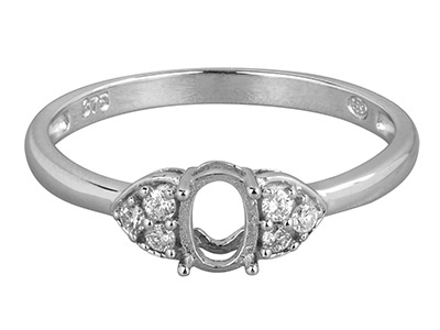 9ct White Gold Semi Set            Diamond Ring Mount Hallmarked 6    Round Total 0.10ct Centre To       Accommodate 6x4mm Oval