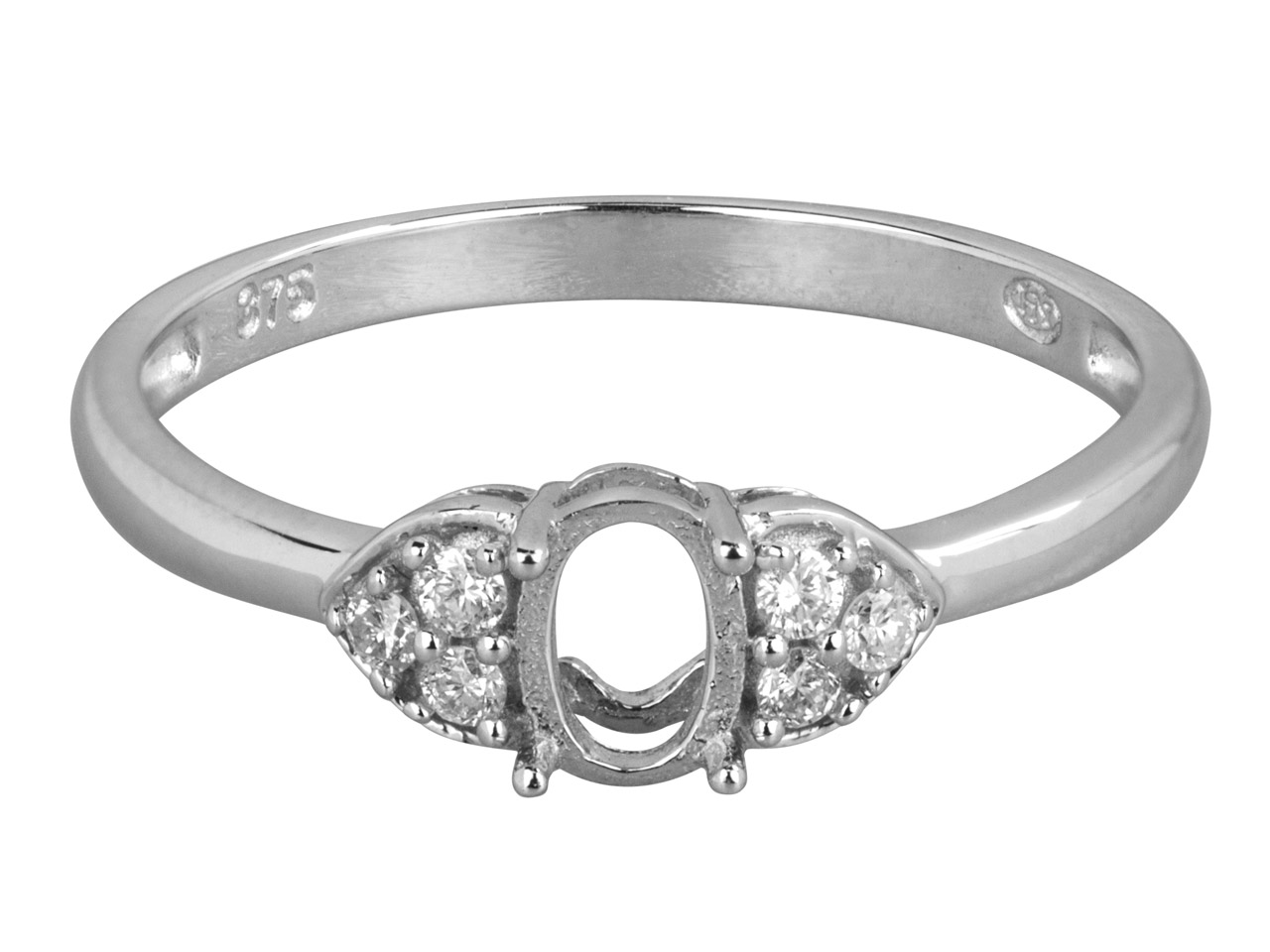 9ct White Semi Set Diamond Ring    Mount Hallmarked 6 Round Total     0.10ct Centre To Accommodate 6x4mm Oval