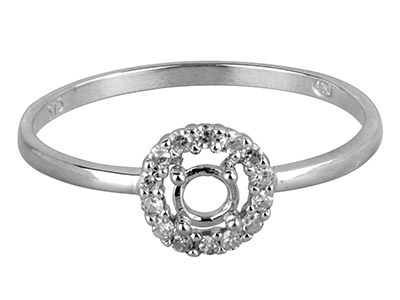 9ct White Gold Semi Set            Diamond Ring Mount Hallmarked 14   Round Total 0.10ct Centre To       Accommodate 3.0mm