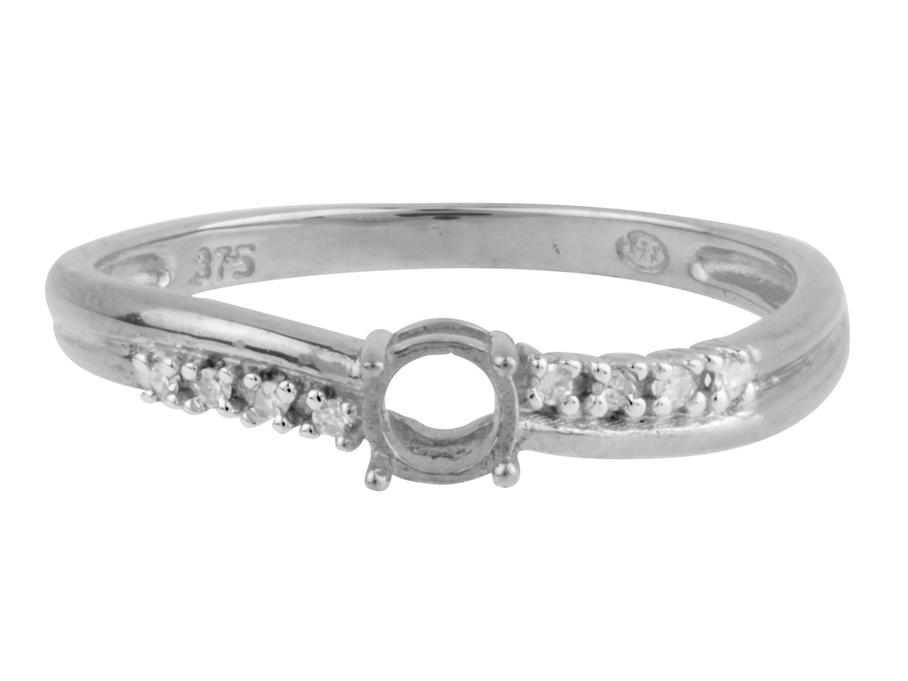 9ct White Semi Set Diamond Ring    Mount Hallmarked 8 Round Total     0.04ct Centre To Accommodate 4.0mm